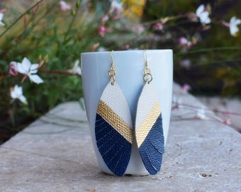Leather Earrings (Navy Gold)