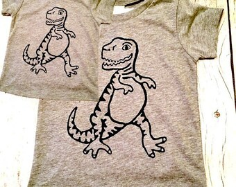 Father's Day matching shirts Set tyrannosaurus rex dinosaur t-rex Mens Boys baby Infant Tshirt father son child kids daughter girl dad gift