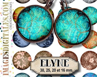 ELYNE ID Digital Collage Sheet Printable Instant Download for art jewelry scrapbooking bottle caps magnets pins