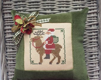Santa Belsnickle Pillow Vintage Style Handmade Green Velvet Ticking Cross Stitch St Nick Primitive Rustic Cottage Christmas Winter Decor