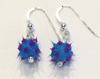 Blue and purple spiky earrings, spiky rubber earrings, spiky ball earrings, silicone ball earrings, sterling silver and spiky ball dangles