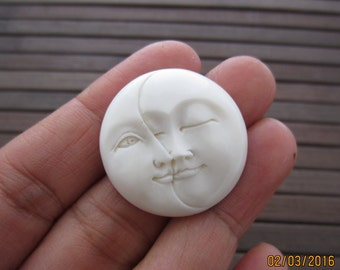 30 mm Phase Moon Face, Carved bone , Jewelry making Supplies B5796