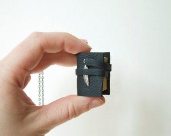 Mini book necklace, mini book pendant, Miniature book necklace, mini leather book, bibliophile, literary jewelry, bookworm, graduation gift