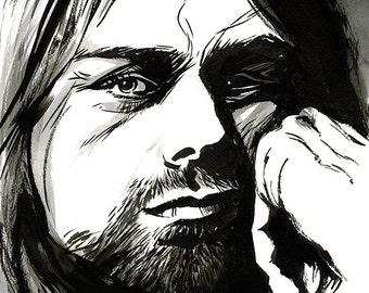 Kurt Cobain Nirvana portrait original ink drawing
