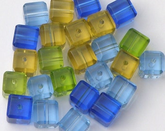 Pressed Glass Cube Beads, Mixed Square Glass Beads, Set of 25 Beads, Glass Beads