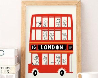 London print, London bus, London wall art, Nursery London, Cute art print, Nursery wall decor, London wall decor, Kids room art, Nursery bus