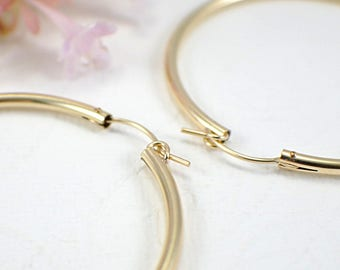 50mm 14k gold filled hoop earrings large size 2 inch 2mm hollow tube hoop earrings lightweight earrings gold hoops round lever closure clasp