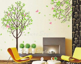 Tree with Branch and Flying Birds -Vinyl Wall Decal,Sticker,Nature Design