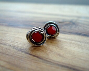 Red earrings - Sterling silver stud earrings - Small earrings - Gift for her - Everyday earrings - Red studs - Small gift