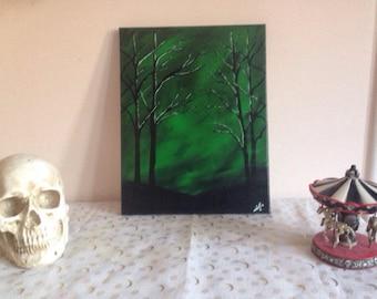 Original Green sky creepy tree scene acrylic painting