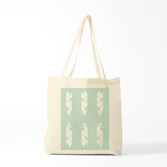 Tote Bag Green Feathers, groceries bag, cotton bag, novlety gift, yoga bag, sports bag, gift for coworker, bambouchic canvas bag.