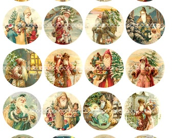 """Digital Clipart, instant download, Christmas Old World Santa Claus Saint Nick 2"""" circles--Digital Collage Sheet (8.5 by 11 inches) 1933"""