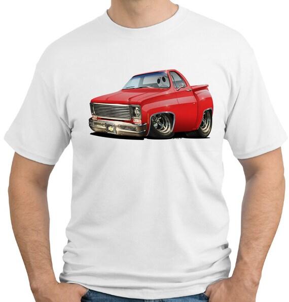 Auto Chevy camioneta de dibujos animados camiseta 6466 de 1975