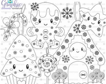Christmas Stamps, Gingerbread Stamps, COMMERCIAL USE, Digi Stamp, Digital Image, Christmas Digistamp, Christmas Coloring Page