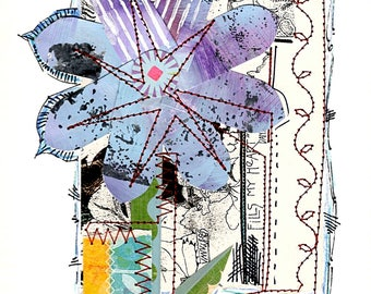Free Shipping, Collage, Mixed Media, Layered Paper Art, Pieced Paper Art