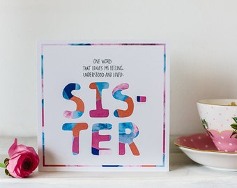 Card for Sister, My lovely sister, greeting card for sibling, Family love, Thinking of You, Best Sister ever, Knows me best, Australia made