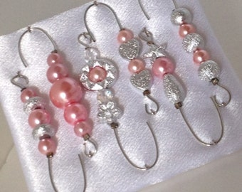 Beaded Ornament Hanger Hooks - Silver and Pink Pearls on Silver Wire - FREE SHIPPING
