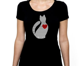 Cat Kitty Heart RHINESTONE t-shirt tank top  Bling S M L XL 2XL - Animal Pet Rescue Love Lover Adopt Don't Shop Shelter Worker Veterinarian