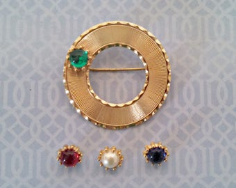 Vintage Brooch, Gold Tone Circle Pin by Beau Jewels, 4 Changeable Glass Stones, Mid Century, Circa 1950s, Includes Gift Box