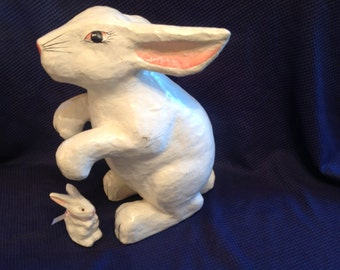 Vintage Large Easter Bunny White  Rabbit Paper Mache