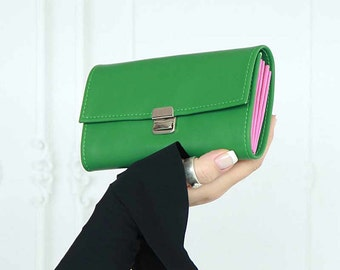 green leather wallet, green womens wallet, green wallet clutch, large smartphone wallet, leather wallets for women, unique womens wallet