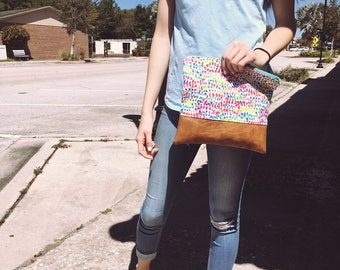 Multi colored leather pouch