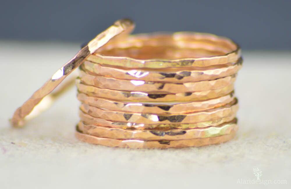 Rose Gold Ring Stack RingSimple RingRose Gold BandThin Rose Gold