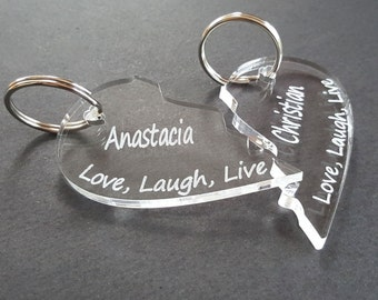 Personalised Love, Laugh, Live Heart Acrylic Keyrings - Couples Wedding Present, Anniversary Gift, Personalized Valentine's Day, His & Hers