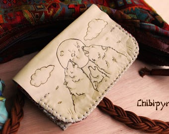 Leather wallet wolves theme