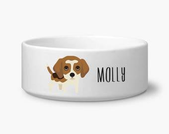 Personalized dog bowl, Beagle custom dog food bowl, custom water bowl, custom name, gift for Beagle owner