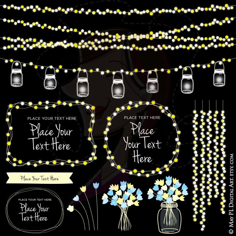 String Lights Wedding Mason Jars Glowing Fairy Clipart