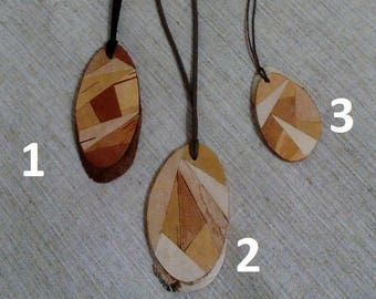 Natural wooden necklace, wood pendant, woodland charm necklace, jewelry made from tree, birch bark necklace, birch bark pendant