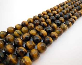 Tiger Eye Beads, 10mm Round, Polished Finish, 16 Inch Strand