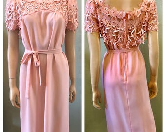Beautiful Pink Victor Costa Dress with lace top / medium
