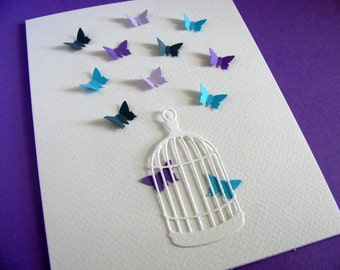 Vintage Bird Cage with Mini 3D Butterflies Creamy Ivory Card as Shown or YOUR Choice of Colours for Mini Butterflies.  A2 size
