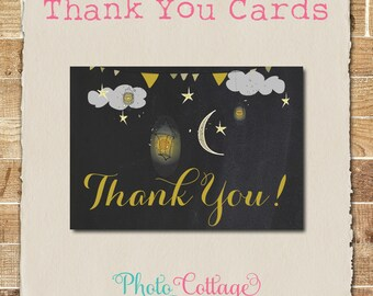 Thank You Cards, Star & Moon Thank You Card, Chalkboard Thank You, Baby Shower Thank You, Twinkle Twinkle Thank You, BBS112