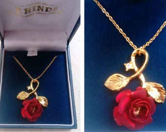 RARE F.Hinds gold plated, red rose 18 inch necklace