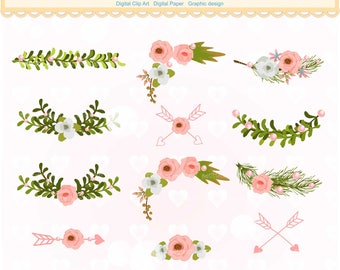 ON SALE Flowers corner clipart, pink floral border clipart,.flowers Text divider clipart, wedding clipart,INSTANT Download