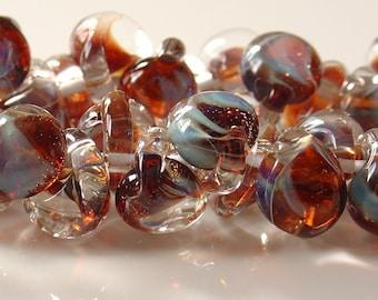 10mm Unicorne Tear Drop Lampwork Beads - Evening Sky  - 4 Pieces - 21110