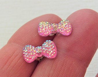Tiny Pink Earrings Glittery Bows Bow Studs Iridescent Kitsch Cute Novelty Jewellery Delicate Quirky