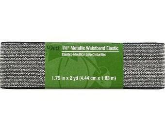 "1 3/4"" inch Metallic  Waistband Elastic - Dritz - black and silver"