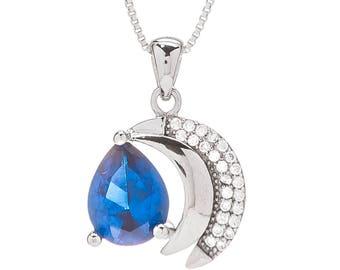 925 Sterling silver Blue Zircon necklace