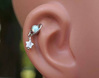White Opal Saturn and Star Stud Cartilage Earring Piercing 16g