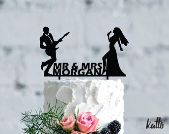 Guitarist and singer wedding cake topper- Customizable Wedding Cake Topper- Personalized wedding karaoke cake topper- Wedding Cake topper