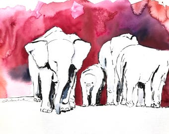 original watercolor painting - elephants