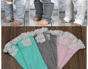 Lace Ruffle Leg Warmers, Girls Leg Warmers, Solid Grey, Pink, Black, White