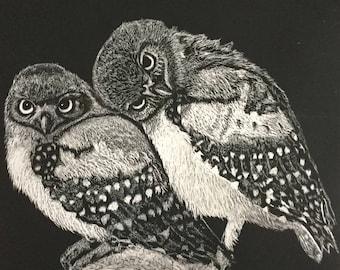 """Scratchboard Art """"Love Birds"""""""