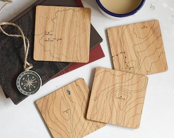 The Yorkshire Three Peaks Map Coasters: laser etched maps on oak, a gift for walkers, hikers, dads & groomsmen