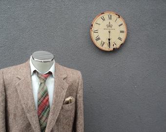 1980s Brown HARRIS TWEED Jacket / Herringbone Tweed Sports Jacket 42 Long / Vintage Harris Tweed Blazer 42 Tall / Large Lrg / Town % Country