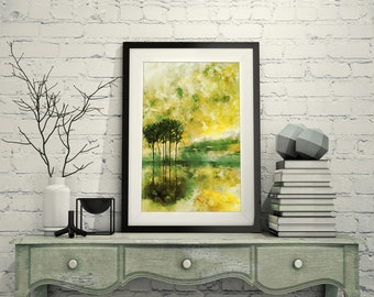 Abstract Trees Reflected on Water, Lemon Yellow and Lime Green Shades, Calm Abstract Art, Watercolor, Printable, Home Decor Wall Art